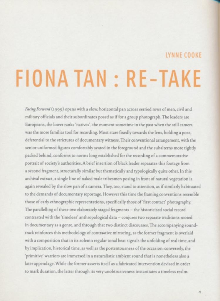 Fiona Tan : Re-take (Publications)