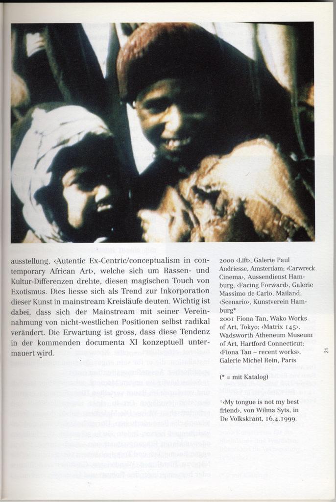 Kunstbulletin, Zu Fiona Tans Filmen (Publications)
