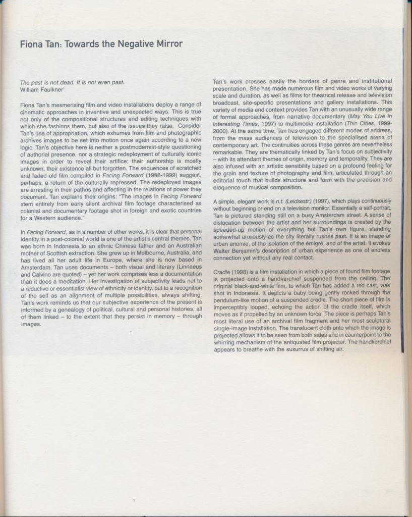 Fiona Tan: Towards the Negative Mirror (Publications)