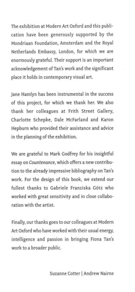 Countenance, Fiona Tan (Publications)